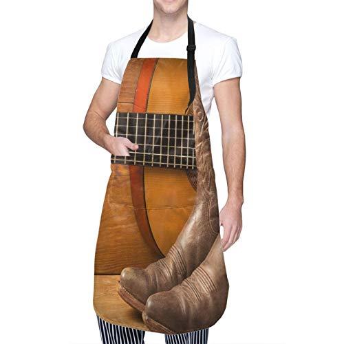Ajustable Colgante de Cuello Personalizado Delantal Impermeable,Música country americana con guitarra y zapatos de vaquero en madera,Babero de Cocina Vestido para Hombres Mujeres con 2 Bolsillos