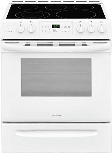 Frigidaire FFEH3054UW 30' Slide-in Electric Range with 5 Elements 5 Cu. Ft. Oven Capacity Self Clean Keep Warm Zone in White