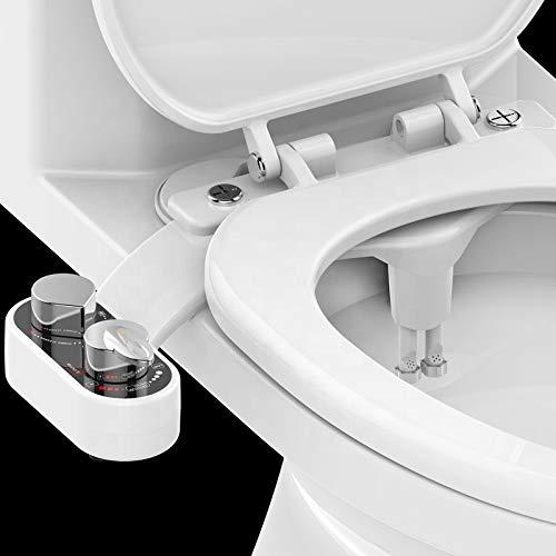 Bidet einsatz für toilette, Nachrüstbares Dusch-WC Bidetaufsatz mit Warmwasser,Intimreinigung mit Selbstreinigende Düsen Wasserstrahl regulierbar Po Dusche