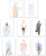 Crystal BTS Kpop Poster Prints - Set of Eight Matte Watercolor Fanart Bangtan Boys Decor Wall Art Photos 8x10 Jin - Suga - J-Hope - Rap Monster - Jimin - V - Jungkook