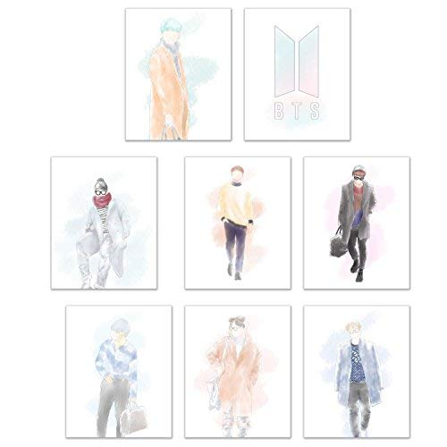 Crystal BTS Kpop Poster Prints - Set of 8 (8x10) Matte Wall Art Decor Watercolor Fanart Bangtan Boys - Jin - Suga - J-Hope - Rap Monster - Jimin - V - Jungkook