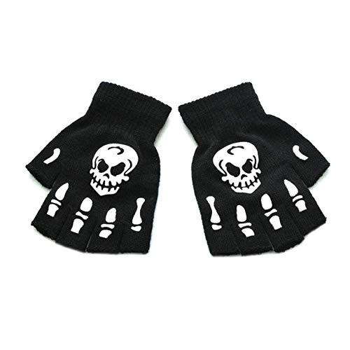 Berrd Guantes de Medio Dedo con Calavera Esqueleto de Halloween para Adultos Unisex Que Brillan en la Oscuridad Manoplas de Invierno de Punto elásticas sin Dedos - B