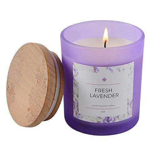 SUPREME LIGHTS ·2017· Lavender Scented Candle 8oz Natural Soy Wax Aromatherapy Jar Candle, Birthday Christmas Housewarming Gift for Women Men