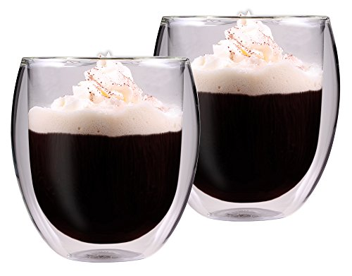 AKTION: 2x 320ml doppelwandiges Thermoglas mit Schwebe-Effekt, Teeglas / Kaffeeglas für Cappuchino, Milchkaffee, Tee, Eistee, Schorle, Desserts oder als Eisbecher geeignet, 32R by Feelino - 3