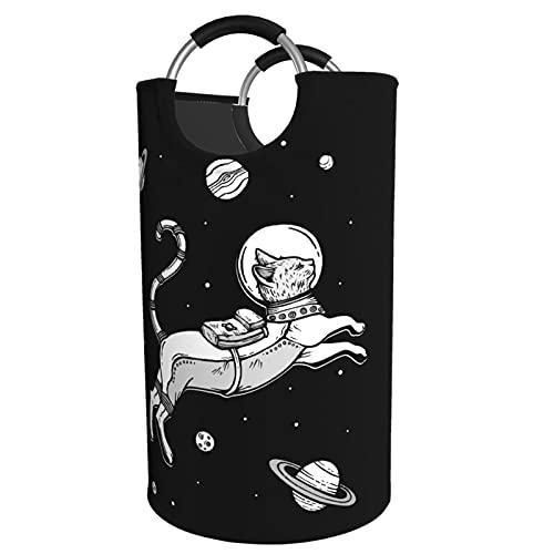 Sunmuchen Cesta de lavandería para gatos espaciales, impermeable, grande, organizador para ropa, juguetes, dormitorio, baño, con asas de aluminio