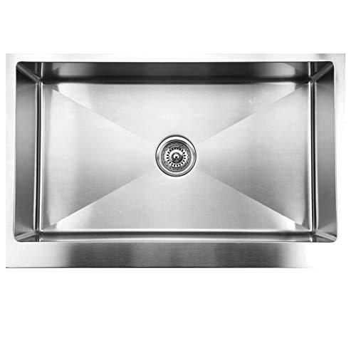 Ukinox RSFS840 Modern Apron Front Single Bowl Stainless Steel Kitchen Sink