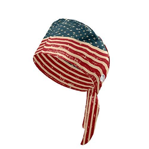 Gorra de trabajo con diseño de bandera de Grunge patriótica con botón y banda para el sudor para la cabeza, ajustable, para mujeres y hombres