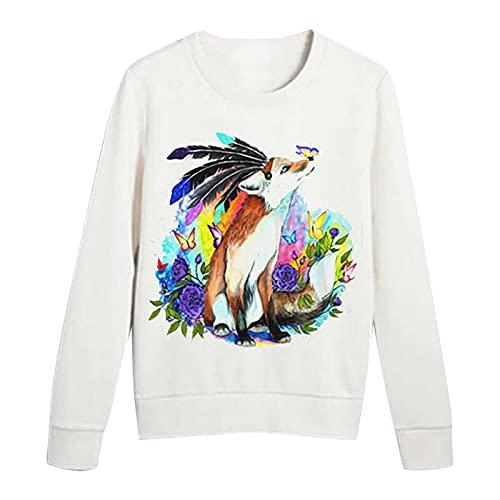 Long Sleeve Shirts For Women,October 4 World Animal Day Shirt, Cute Animal Print Round Neck Loose Sweatshirt Blouse