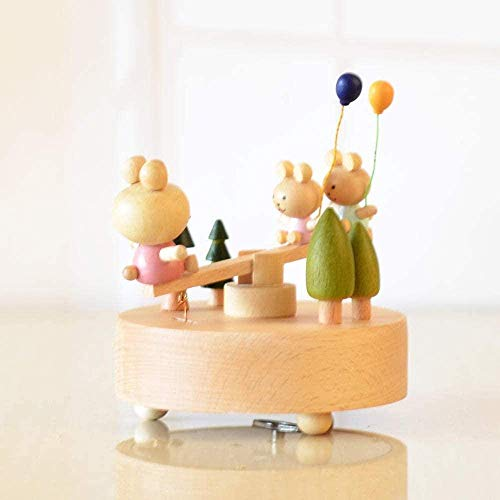 RUXMY Sculpture Sculptor wood seesaw bear music box children's day gift crafts
