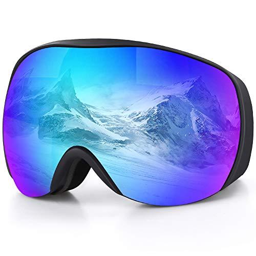 DIAOCARE Skibrille Herren Damen Doppel Objektiv 100{48a63109f534c0cef61d3a2ca8ed73c6a81be7e13ab944461185936d2edfb120} OTG UV-Schutz Anti-Fog Schneebrille,Schibrille Verspiegelt für Brillenträger, Helmkompatible Snowboardbrille (Blau)