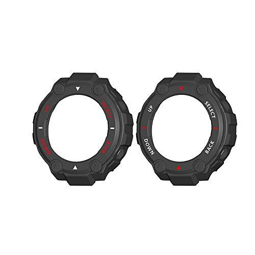 Funda protectora compatible con Huami Amazfit T-Rex A1918 Smart Watch, marco de TPU suave, carcasa de parachoques resistente a los arañazos, protección a prueba de golpes (#5 blanco+rojo+blanco)