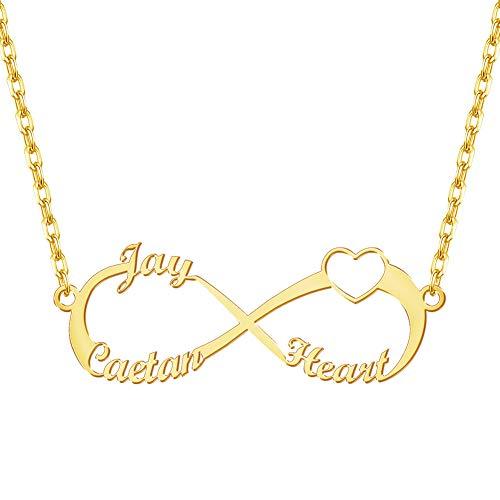 EVER2000 Namenskette,Infinity Namenskette,Personalisiert Herz Halskette Silber/Rosegold/Gold Namenskette 3 Namen Geschenk für M?dchen,Damen,Mutter,Freunds
