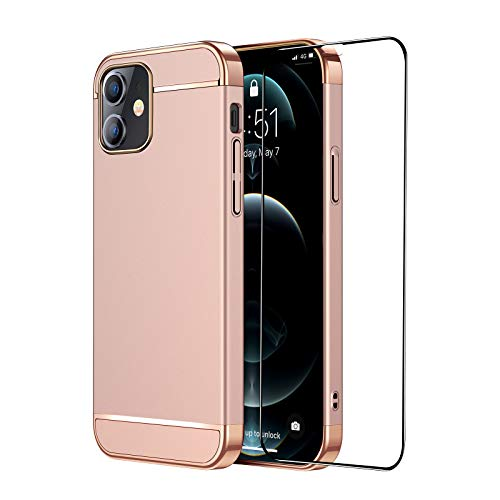 CROSYMX Slim Fit Compatible with iPhone 12 Case, Designed for iPhone 12 Pro Case with [1 x Screen Protector] Shockproof Drop Protection Hard Cover 5G (6.1 inch) 2020 - Rose Gold