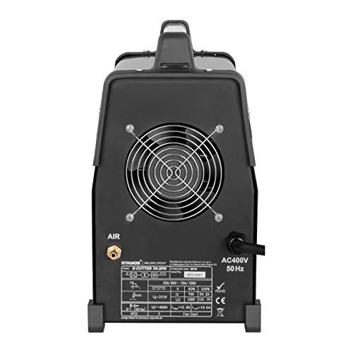 Stamos Power – S-CUTTER 70-3PH – Plasmaschneider (20-70 A, 400 V,20 mm Schneidleistung, Pilotzündung + Zubehör) schwarz - 3