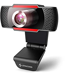 JOYACCESS Webcam PC con Micrófono, Web Cámara 1080P, Negro y Rojo, Vista Gran Angular de 105º para Transmisión en Streaming, Conferencias en Zoom, Youtube, Skype, Compatible con Windows, Mac
