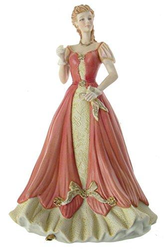 Von hand gefertigt und verziert Bisquitporzellan 24.13 cm Dame-Kleid F371 Altrosa