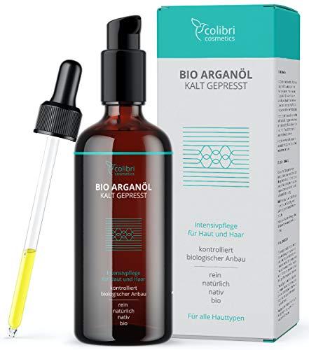 colibri cosmetics aceite de argán puro ecológico 120ml - prensado en frío - para una mejor salud del cabello y de la piel - para el rostro y el pelo - cosmética natural