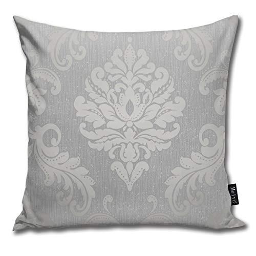 Nonebrand Chelsea - Copricuscino con brillantini damascati, colore grigio argento, per soggiorno, divano, camera da letto, auto, 45,7 x 45,7 cm