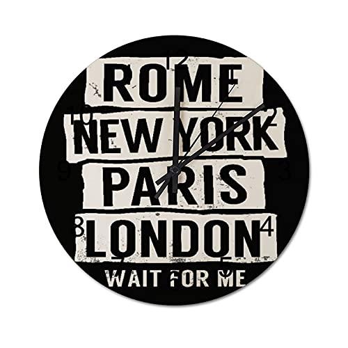 Reloj de Pared Vintage,Cool Rome New York Paris Londo,Relojes de Pared de Madera silenciosos Que no Hacen tictac,Reloj de Pared rústico de Granja para la decoración del Dormitorio de la Sala de Estar