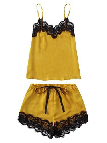 MakeMeChic Women's Lace Satin Sleepwear Cami Top and Shorts Pajama Set Yellow XL