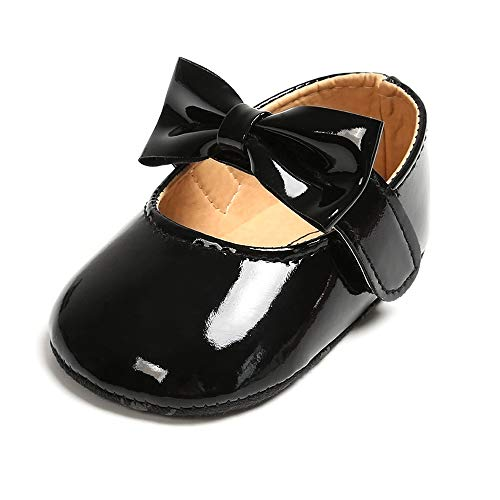 OOSAKU Infant Toddler Baby Soft Sole PU Leather Bowknots Shoes (3-6 Months, Black)