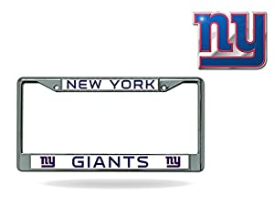 Rico Official National Football League Fan Shop Licensed NFL Shop Authentic Chrome License Plate Frame and Colored Auto Emblem (New York Giants)