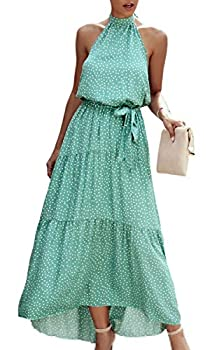 ECOWISH Women Dress Halter Neck Boho Floral Print Sleeveless Casual Backless Maxi Dresses with Belt 259 Green Medium