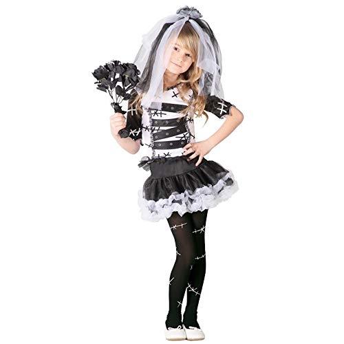 Guirca- Kostüm als Braut Kadaver 10/12 Jahre, Farbe weiß und schwarz, 82538