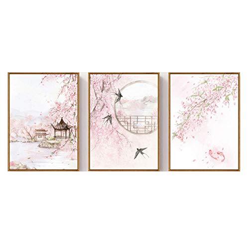 Triptychon Leinwand Wandbild 3 Stücke Große Baumschwalbe des Chinesischen Pavillons Kreative Triptychon Bilder Schlafzimmer Restaurant Wohnzimmer Leinwand Wandkunst Warm Decor Hängen Malerei-B1