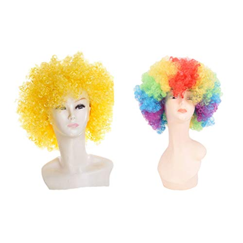 Amosfun 2pcs Afro Clown Perruques Costume Perruques Costumes De Clown Mascarade Carnaval Cosplay Party Favors Fournitures