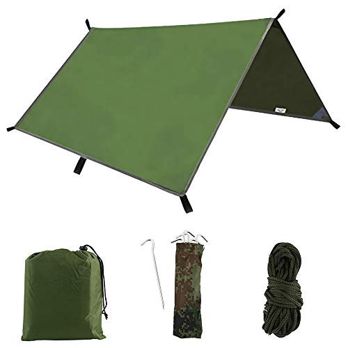 Hands DIY 3m x 3m Hammock Rain Fly Tent Tarp Waterproof Windproof Camping Tent Mat Cover for Outdoor Camping Hiking Travel