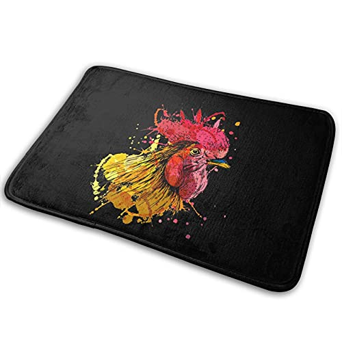 Colored-Hand-Sketch-Rooster-Head Bath Mat Polyester Front Door Mat Bathroom Rugs Carpet For Inside Outdoor 15.7 X 23.5in