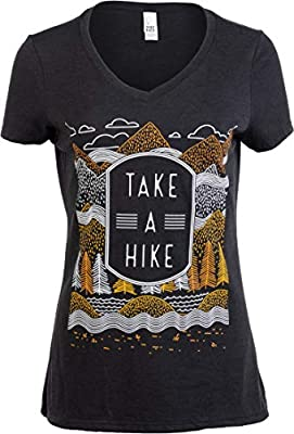Take a Hike | Outdoor Nature Hiking Camping Graphic Saying for Women T-Shirt Top-(Vneck,M) Vintage Black