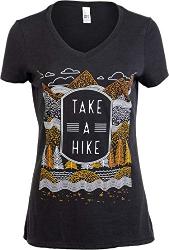 Take a Hike | Outdoor Nature Hiking Camping Graphic Saying for Women T-Shirt Top-(Vneck,XL) Vintage Black
