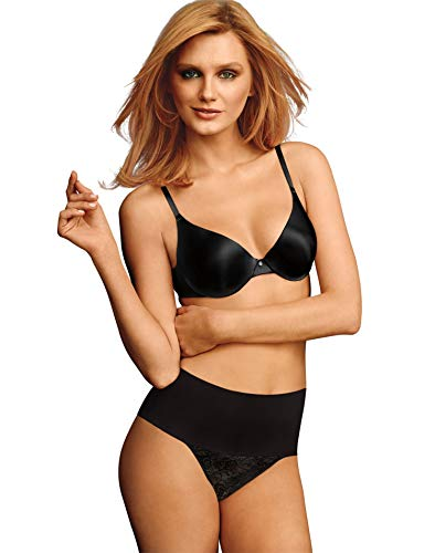 Maidenform womens Tame Your Tummy Shaping Lace Thong With Cool Comfort Dm0049 Waist Shapewear, Black Lace, Large US
