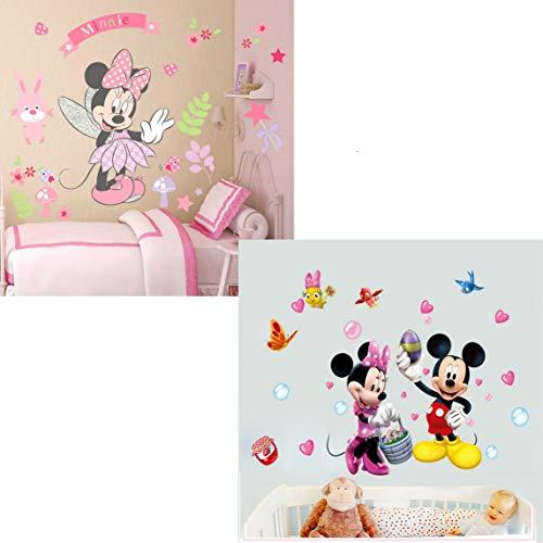 Kibi 2PCS Wandtattoo Mickey Mouse Wandtattoo Mickey und Minnie Wandaufkleber Mickey Mouse wandsticker Mickey Maus Wandsticker Kinderzimmer Micky Mouse Aufkleber Wanddeko Wandsticker Minnie Maus