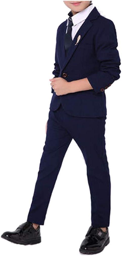 Boys Black Blue Red 3 Colors Suit Set 2 Pieces Jacket and Pants Set Size 2T - 10