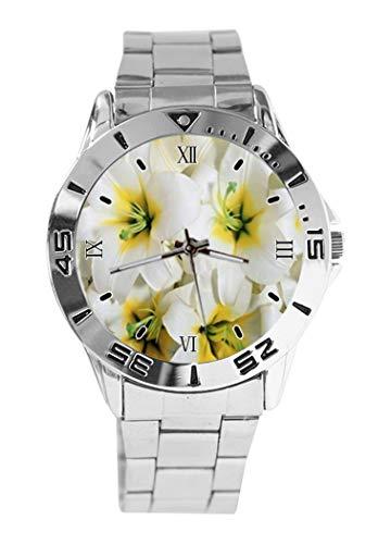 White Lilies design analogico da polso al quarzo quadrante argento classico cinturino in acciaio inox orologio donna uomo