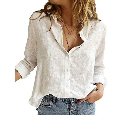 Aooword Women Roll up Cotton Linen Long Sleeve Button Down Shirt Blouse Tunic Tops White 3XL
