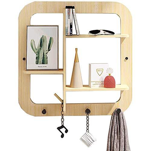 Estante decorativo de bambú para colgar en la pared, creativo para decoración del hogar con 3 ganchos, estantes rústicos para colgar en la pared para cocina, baño