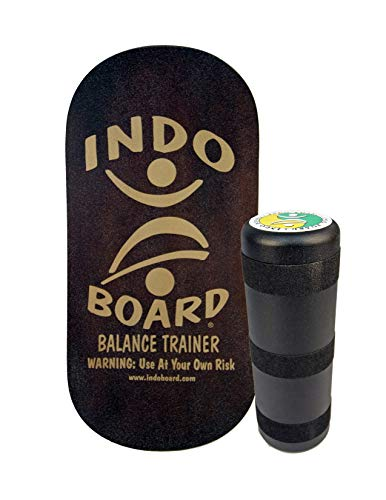 INDO BOARD Rocker Balance Board with Roller - Mahogany Brown - Balance Board for Fitness, Sports Training and Advanced Tricks - 33' X 16' Non-Slip Wooden Deck and a 6.5' Roller