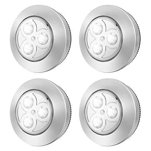 Chenjia Paquete de 4 luces de grifo inalámbricas mejoradas Luces de noche de empuje de baterías LED pegajosas Presione la lámpara de luz blanca brillante for clósets, guardarropas, gabinetes, mostrado
