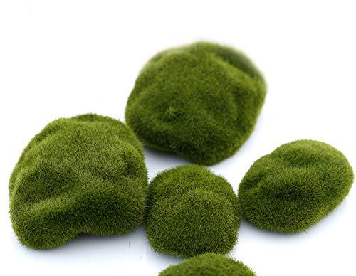VOANZO Paquete de 5 piedras artificiales de musgo Bola de musgo Pequeña roca de musgo Bolas de musgo verde Simulación decorativa de musgo para arreglos florales, jardín, terrarios y manualidades