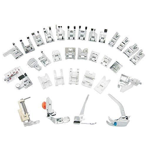 3T6B 32 Pcs Kit Prensatelas Universal Multifuncional Pie de Maquina de Coser Aplicar a Todas las Marcas Alfa/Singer/Carrefour ect