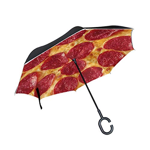 Lecintevro Funny Pizza Print Inverted Umbrella Double Layer Windproof UV Protection Straight Umbrella Reverse Travel Umbrella for Car Rain Outdoor C-Shaped Umbrella
