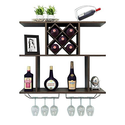 An der Wand montierter Weinschrank Moderner minimalistischer Weinregal in Diamantform MDF-Display Floating Partition Storage Rack Einheit Rahmen Weingläser und Flaschenhalter