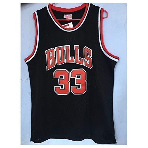 LDFN Basketballtrikot No. 33 Basketball-Trikot, Scottie Pippen, Sommer Atmungsaktiv Und Komfortabel Bestickte T-Shirt Sweatshirt S-XXL (Color : Black, Size : M)