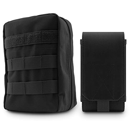 34 North - MOLLE Tactical EDC and Phone Pouch Set (2X Items - Black)