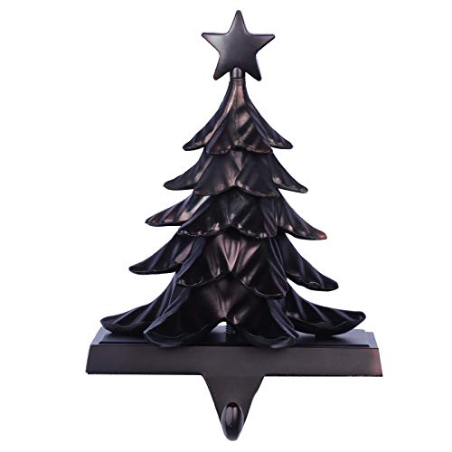 Fowecelt 3D Christmas Tree Stocking Hanger Metal Mantle Stocking Holders for Mantel Shelf Stand Christmas Holiday Decorations(Black)
