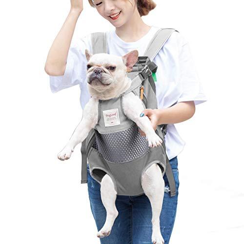 SISVIV Tragetuch Hund Haustier Rucksack Hund Tasche Rucksack für Spaziergänge, Wandern,Geeignet für kleine Hunde (One Size, Grau)